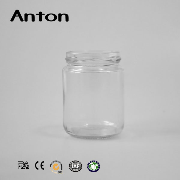 200ml regular round shape glass storage jars airtight with screw metal lid