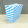 Square bottom blue and white stripes priting gift paper bag with customized