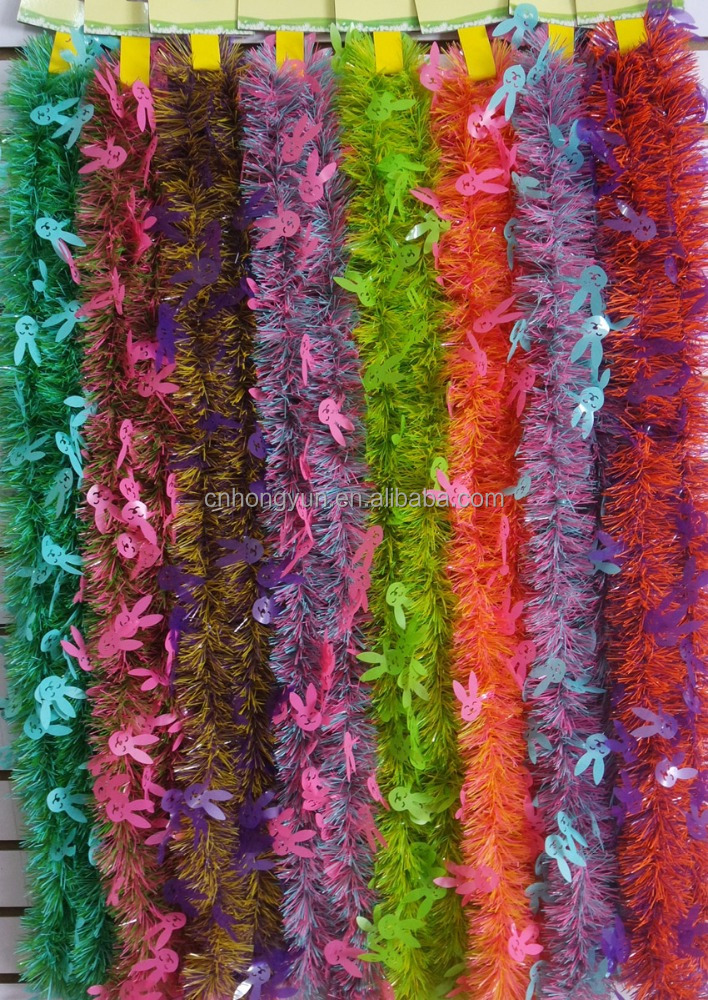 2M*10CM*6P Various Colors Thick Hanging Christmas Tinsel with rabbit Wholesale