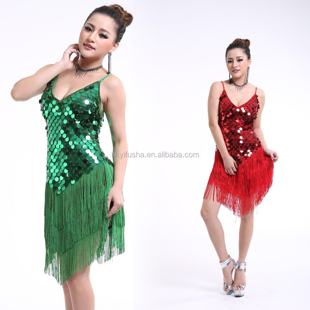 Wholesale women Latin dress sexy sequin covered fringe ballroom latin dance competition dresses