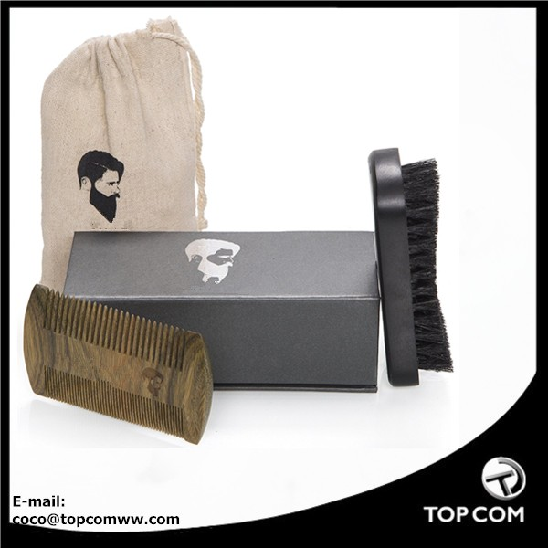 Beard Brush and Beard Comb kit for Men , Styling & Shaping - Handmade Wooden Comb and Natural Boar Bristle Beard Brush set