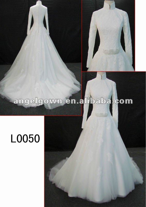 beautiful wedding gown/barial dress with long sleeves in hot sell with discount