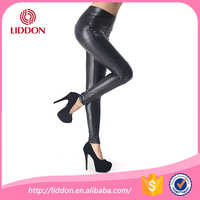 Lady girls sexy shiny tights, sexy custom leather black tights lingerie
