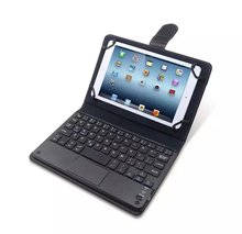 universal bluetooth wireless keyboard with touchpad + PU leather case cover stand for android windows tablet pc