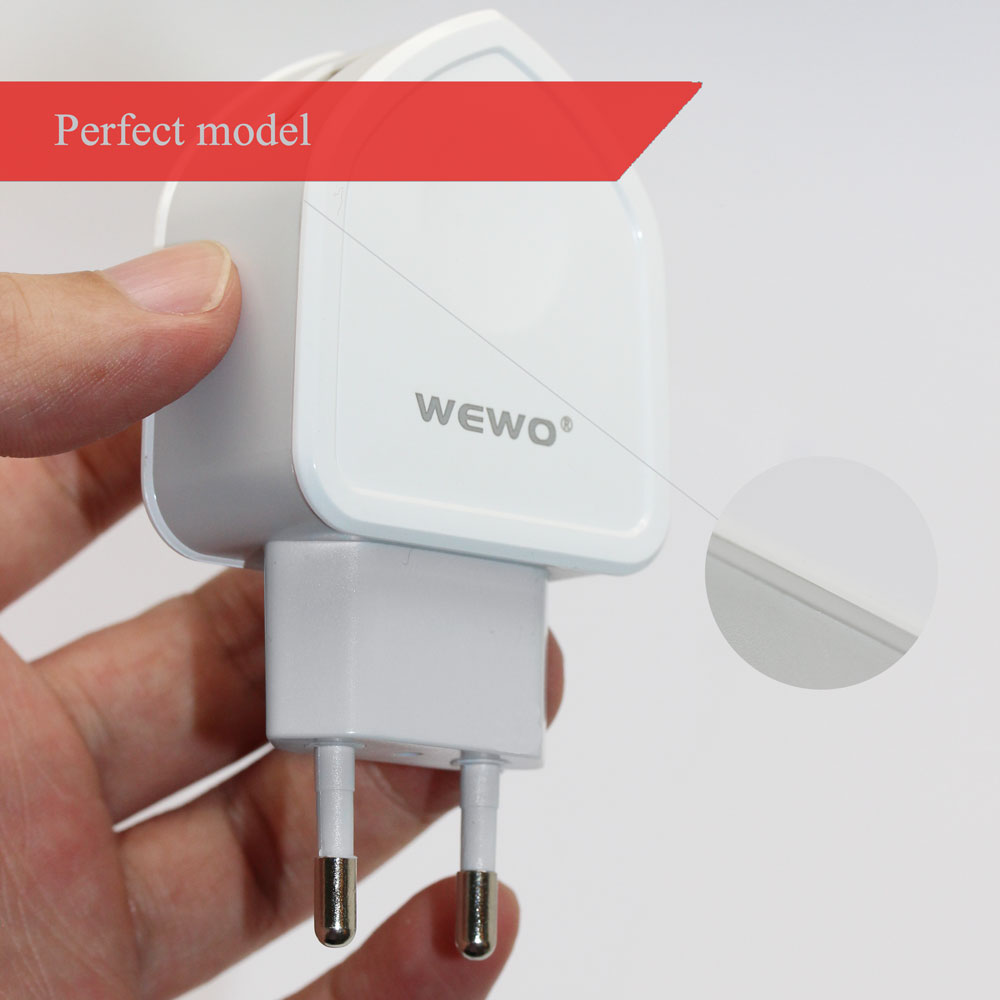 WEWO <strong>w003</strong> dual usb output 5V 2.1A mobile wall phone charger cable for samsung