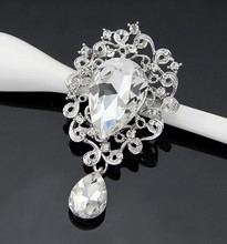 Fascinating Appealing Silver Plated Flower Big Crystal Rhinestone Brooches for Women Brooch Pins Jewelry
