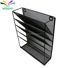 Multi-function hanging wall mount mounted office school metal mesh magazine file organizer for documment holder