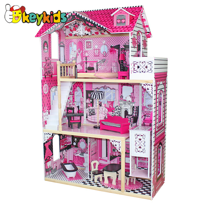 2016 wholesale baby wooden doll house, very popular kids wooden doll house, top fashion children wooden doll house W06A101