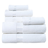 Soft Touch Linen Terry Cloth Towel Set, 2 Bath Towels, 2 Hand Towels, 2 Washcloths, White