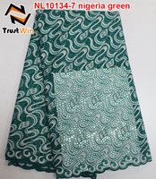 african fabric lace bridal lace trim for party of NL10134 nigeria green