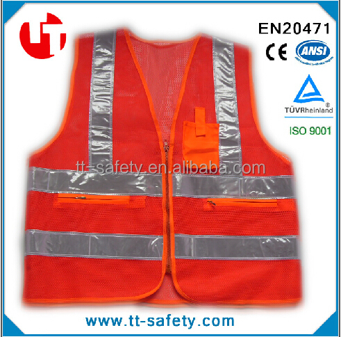 polyester reflective PVC tape mesh safety vest