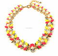 Fashionable colored pearl collar necklace, red yellow pearl collar bib necklace, best selling collar jewelry
