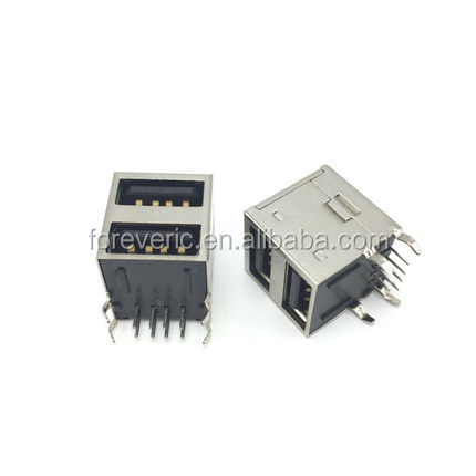 Dual USB Type-A Female 8 Pin Socket Connector Double All Inclusive