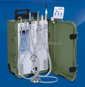 Portable dental unit/instrument/equipment with air compressor, ultrasonic scaler, led curing light, saliva ejector, syringe