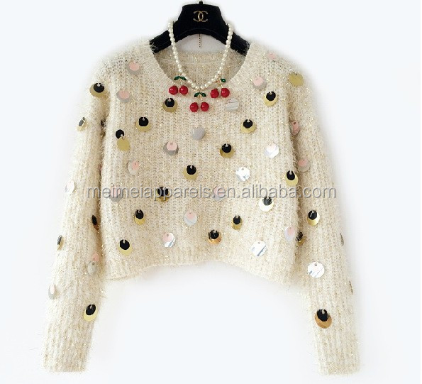 New knit sweater with sequins fashion woman pullover sweater short top OEM & ODM be welcome