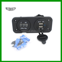 12V 2.1A 1A Outlet Dual USB Charger + Voltmeter Panel Mount Marine Motorcycle