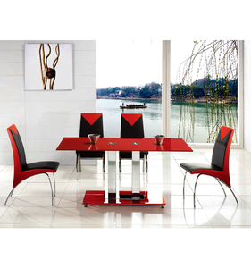 Bazhou factory supply contemporary tempered glass dining table 6 chair set