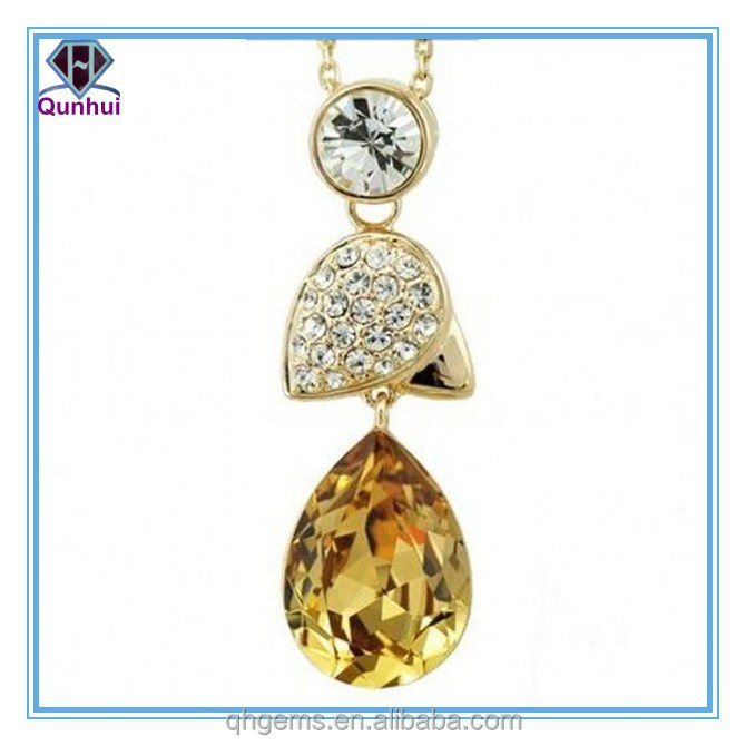 light gold pear shaped lovely and beautiful cz stone necklace