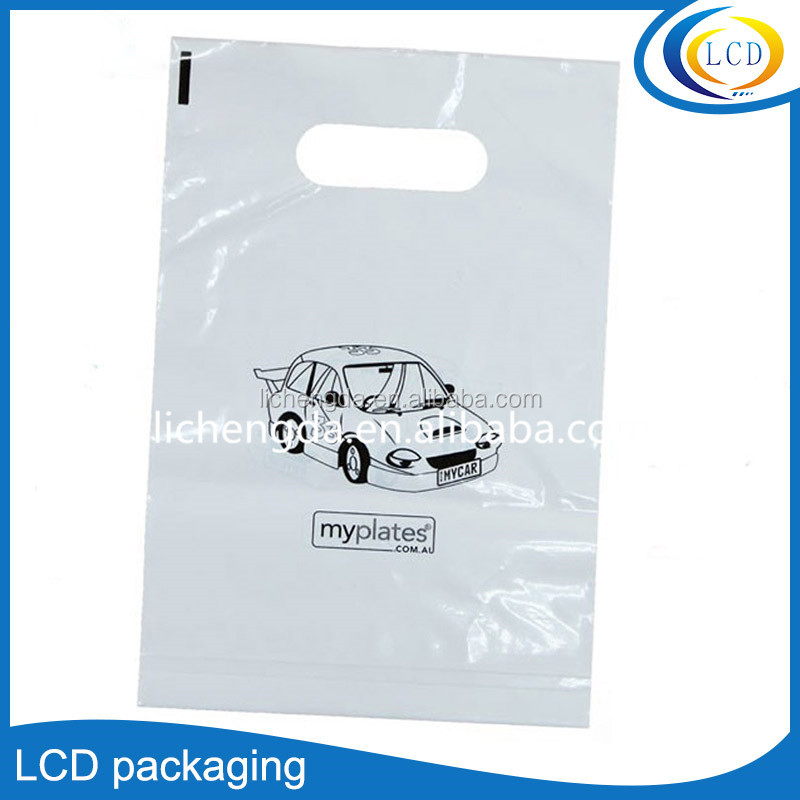 Custom Design Logo Printing Cheap Die Cut Handle Shopping Plastic Carry Bag