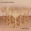 2017 champagne gold lotus shape crystal candelabra centerpieces candelabra wedding table centerpiece decoration (MCP-073)