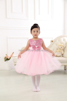 New style top quality baby girl dress 2017 hot sale sleeveless bow party girl dress