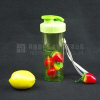 Drinking water bottle with custom logo/Green plastic joyshaker cup