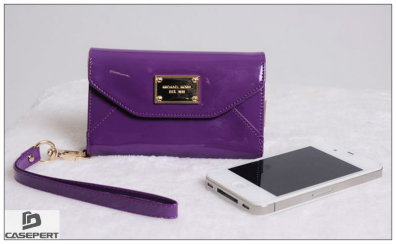 Cheap PU Wallet Case for iPhone 5 Mobile Phone Case- Purple