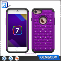 Hot spot drill diamond Silicone+PC Football Pattern cell phone case for iPhone 7