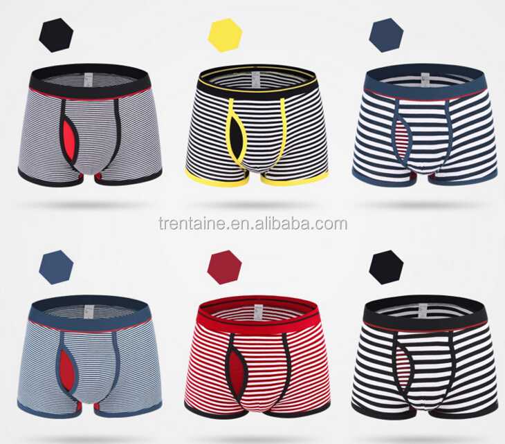 Custom Made European Boys Underwear Stripe Boxer Brief For Man Penis Sexy