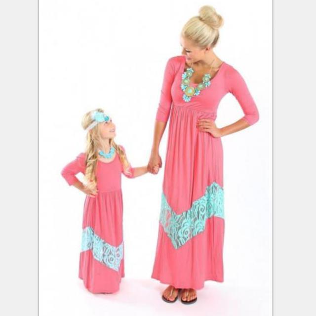 Faddish Long Sleeve Pink dress family clothing turkish new fashion women clothing dropship