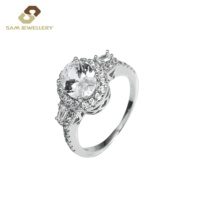 Classic Value High Quality Sterling 925 Silver Three Stone Prong Setting Round Zircon Women's Engagement Rings Jewelry