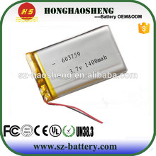 Small lithium polymer battery 3.7v 1400mah 603759 li-ion battery for PDA, digital