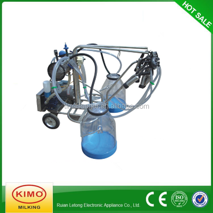 KIMO New Condition Vacuum Pump Movable Double Bucket Milking Machine With Transparent Milk Bucket