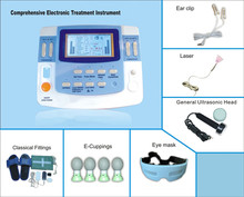 independent 9 channels tens unit with ultrasound,e-cupping,laser