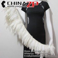 ZPDECOR Bulk Sale Popular Chicken Plume Dress Bleached White Dyed Rooster Schlappen Feathers Strung for Sale
