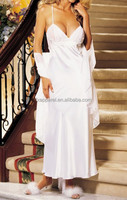 White satin maxi nightdress sexy bridal long night skirt