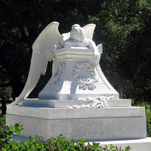 Large marble stone angel tombstone statue with wings