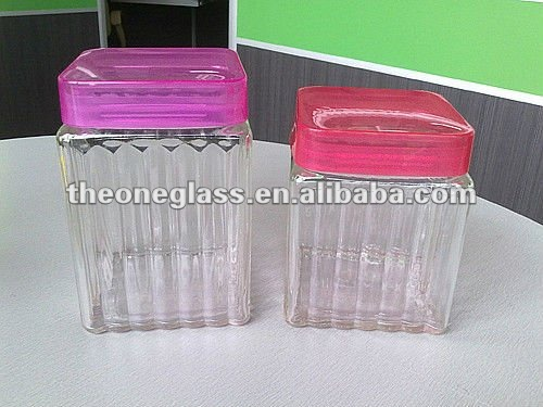 2016 New style square shape glass jar set with plastic lid