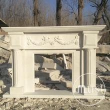 modern clean lines marble surround fireplace