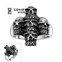 New Heavy Metal Five Skulls Design Stainless Steel Party Finger Ring for Rock