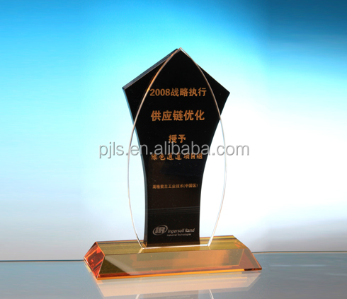 gold base crystal plaque souvenir and crystal trophy cup awards gifts souvenir