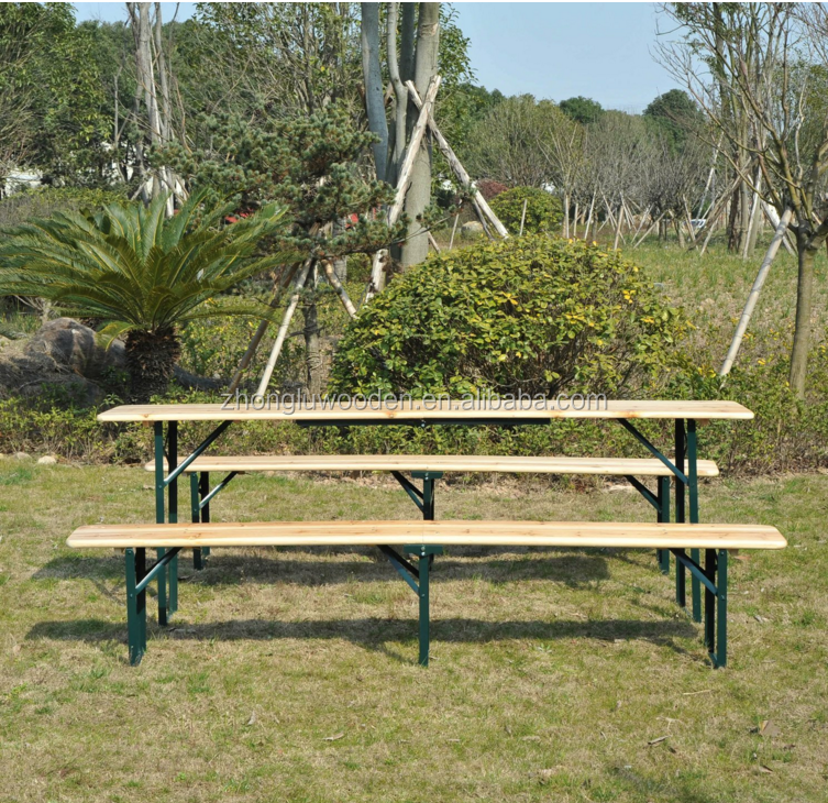 2017 hot sales Outsunny 7' Wooden Folding Picnic Table Set with Benches