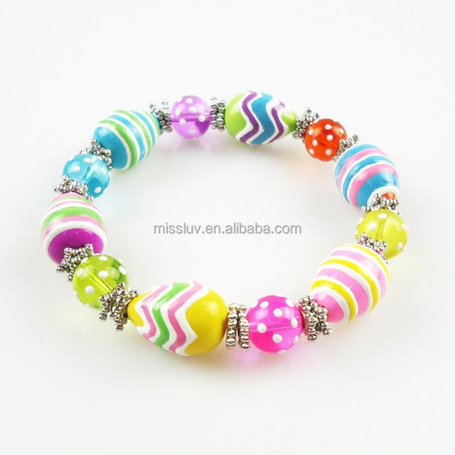 painted hand made glass enamel kids Easter eggs glass beaded bracelet for Easter