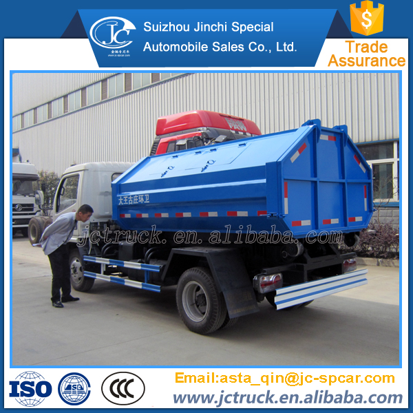 Affordable right hand drive garbage truck with hook lift containers manufacturer in China