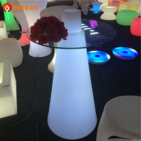 LED Illuminated Bar Nightclub Coffee High Table with glass top