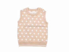 trendy 100% cotton polka dots sweet baby sweater vest