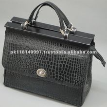 Black platted Goat Leather Tote Bag LTCP-3