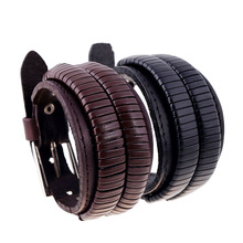 Brown /Black Men buckle Leather bracelet SH024239