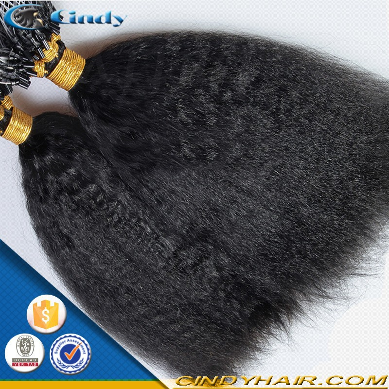 wholeasale 100% virgin indian 2g per pcs kinky curly micro ring loop hair extensions