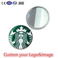 Custom your design portable mirror round cosmetic pocket mirror small hand mirror